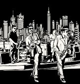 stock photo of saxophones  - Vector illustration of ta jazz band playing in New York  - JPG