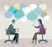 picture of face painting  - A man and a woman sitting talk to each other openly and creatively - JPG