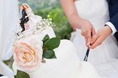 stock photo of figurines  - the wedding cake cutting ina green garden - JPG