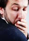 stock photo of scabs  - the Dandruff issue on man - JPG