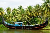 pic of alleppey  - India Coco trees reflection and beautifoull house boat at back waters of Kerala - JPG