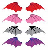 picture of bat wings  - devil and bat wings red  vector illustration - JPG