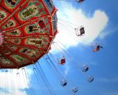 stock photo of swingers  - Nostalgia Park in Myrtle Beach South Carolina swings in mid - JPG
