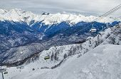 stock photo of olympic mountains  - Olympic ski trail Rosa Khutor Sochi Russia - JPG