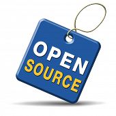 picture of open-source  - open source software program or economy freeware internet data computer sharing - JPG