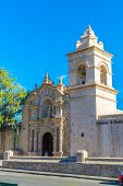 Old Church In Arequipa, Peru, South America. Arequipa's Plaza De Armas Is One Of The Most Beautiful