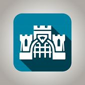 image of turret arch  - Blue and white flat castle icon with shadow for web and mobile applications - JPG