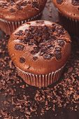 image of chocolate muffin  - Chocolate muffins with chocolate chips on the wood background closeup - JPG