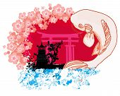 picture of koi tattoo  - japanese koi and ancient building background  - JPG