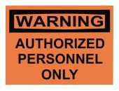 stock photo of osha  - OSHA authorized personnel warning sign isolated on white - JPG