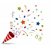 foto of birthday hat  - Vector Illustration of exploding party popper on white background - JPG