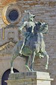stock photo of conquistadors  - Equestrian statue of Francisco Pizarro in Trujillo Caceres Extremadura Spain - JPG