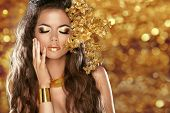 stock photo of jewelry  - Fashion Beauty Girl Isolated on golden bokeh lights Background - JPG