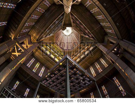 Fisheye view of Saint Josephs church bell tower at Le Havre