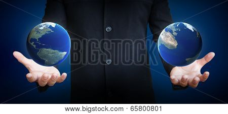 Human Hand Holding Earth