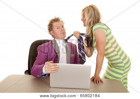 Man Purple Suit Computer Woman Grab Tie Pull