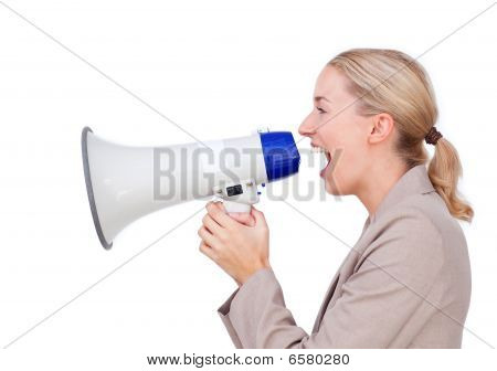 Assertive Businesswoman Yelling Through A Megaphone