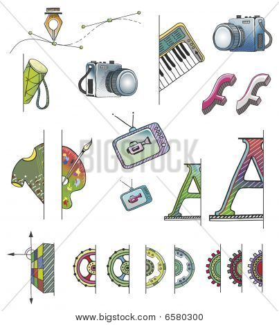 Hand Drawn Vector Fs Icons