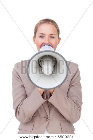 Young Businesswoman Giving Instructions With A Megaphone