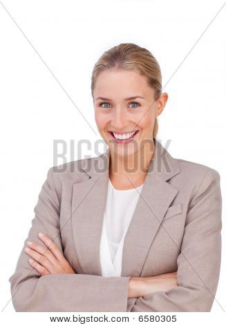 Charismatic Blond Businesswoman With Folded Arms