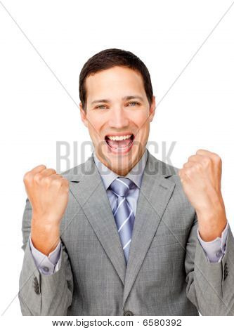 Lucky Businessman Punching The Air In Celebration