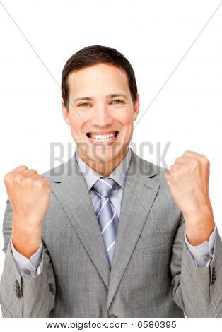 Charismatic Businessman Punching The Air In Celebration