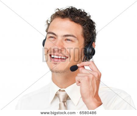 Delighted Customer Service Agent With Headset On