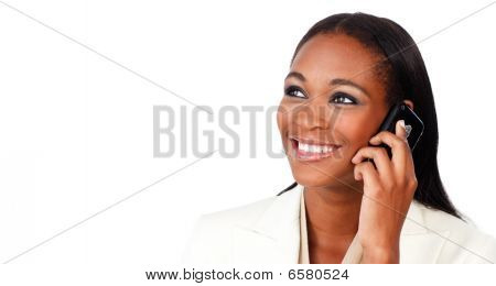 Glowing Afro-american Businesswoman On Phone