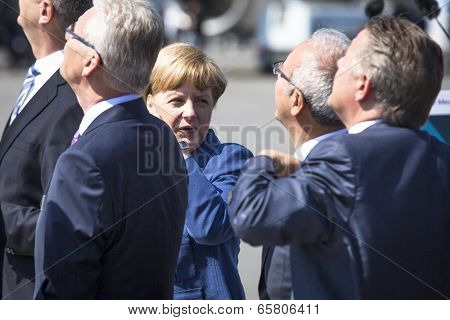 BERLIN, GERMANY - MAY 20, 2014: German Chancellor Angela Merkel during open the International aviation and space exhibition ILA-2014.