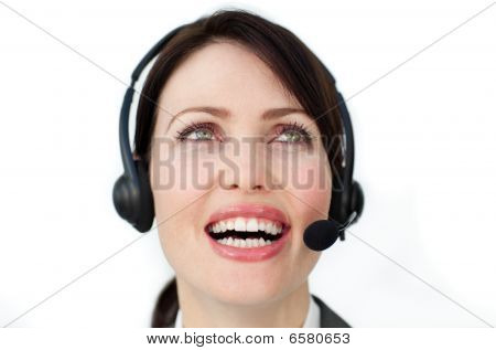 Radiant Businesswoman Using Headset