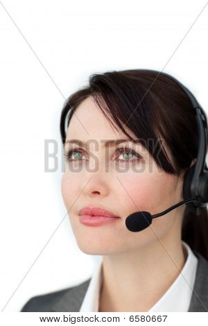 Self-assured Businesswoman With Headset