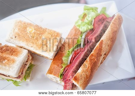 Club Sandwich And Beef Steak Sandwich