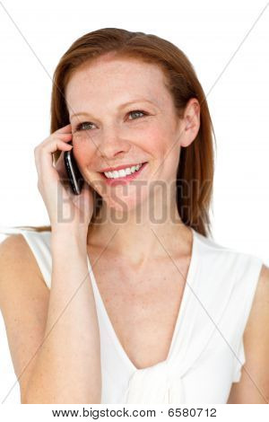 Smiling Confident Businesswoman On Phone