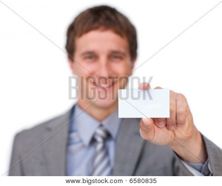 Businessman Presenting A Business Card