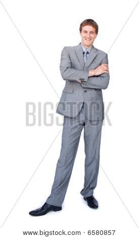 Enthusiastic Businessman Standing With Folded Arms