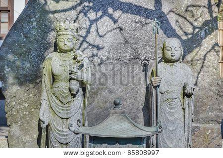 Jizo Bodhisattva with Chinese Goddes Statue at Hasedera Temple in Kamakura