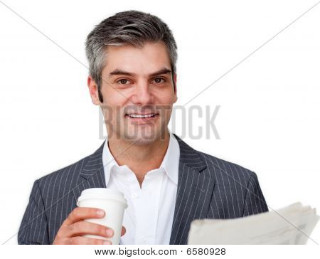 Attractive Businessman Reading A Newspaper