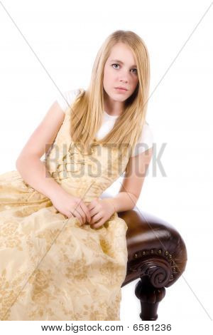 Gold Formal On White Sitting On Bench