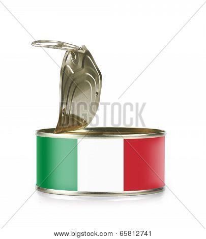 Open An Empty Tin Can Flagged Italia