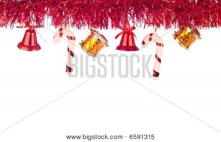 Red Ribbon As Xmas Border