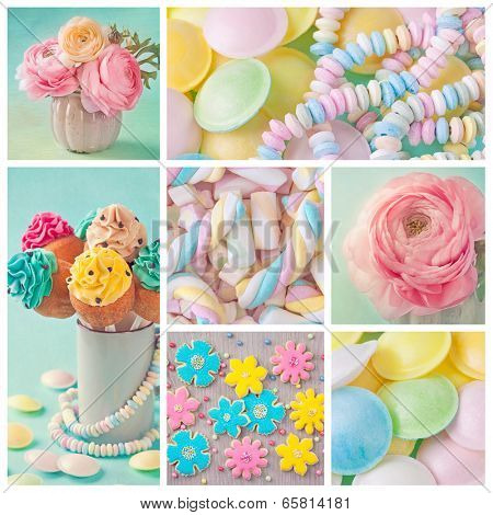 Collage of photos with pastel colored sweets