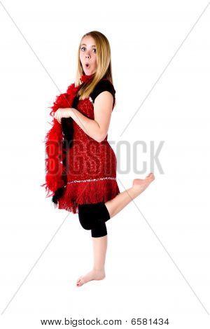 Red Formal Boa Leg