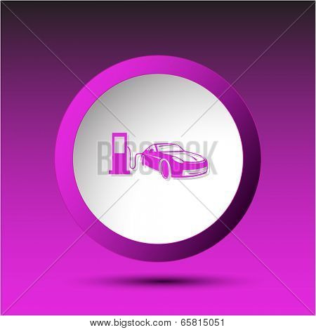 Car fueling. Plastic button. Vector illustration.