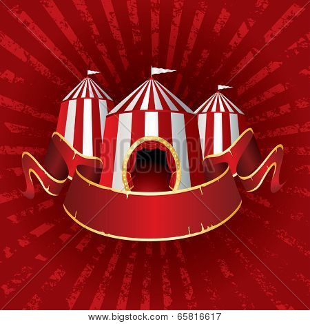 vector Illustration of a circus tents on red grunge burst