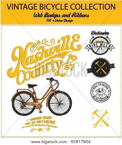 bicycle illustration with label and badge 3