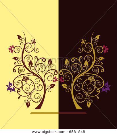 Ilustración de Vector de árboles de floración