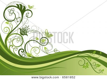Green floral border design
