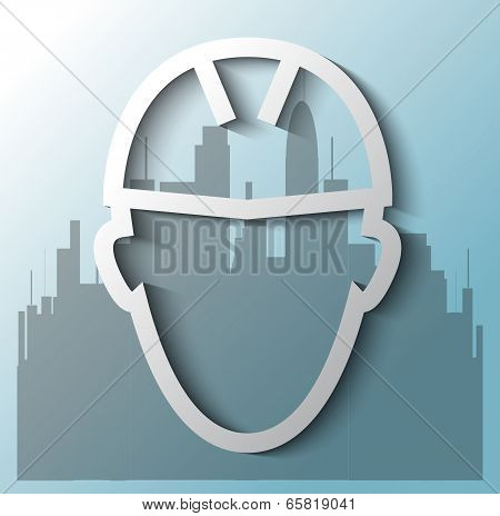 Illustration Of Construction Worker With Building Background