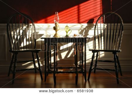 Colonial Style Interior With Chairs And Gateleg Table