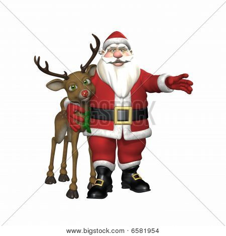 Santa abrazando a Reno